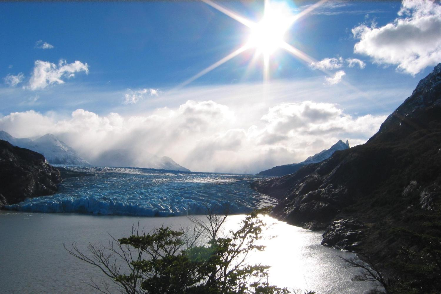 The beautiful viewpoint of Glacier Grey in Torres del Paine