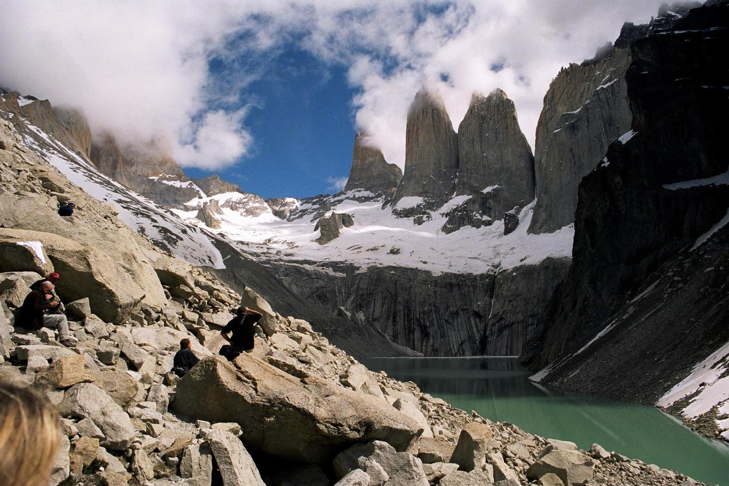 The glacial lake at the foot of the mile-high towers of Torres del Paine