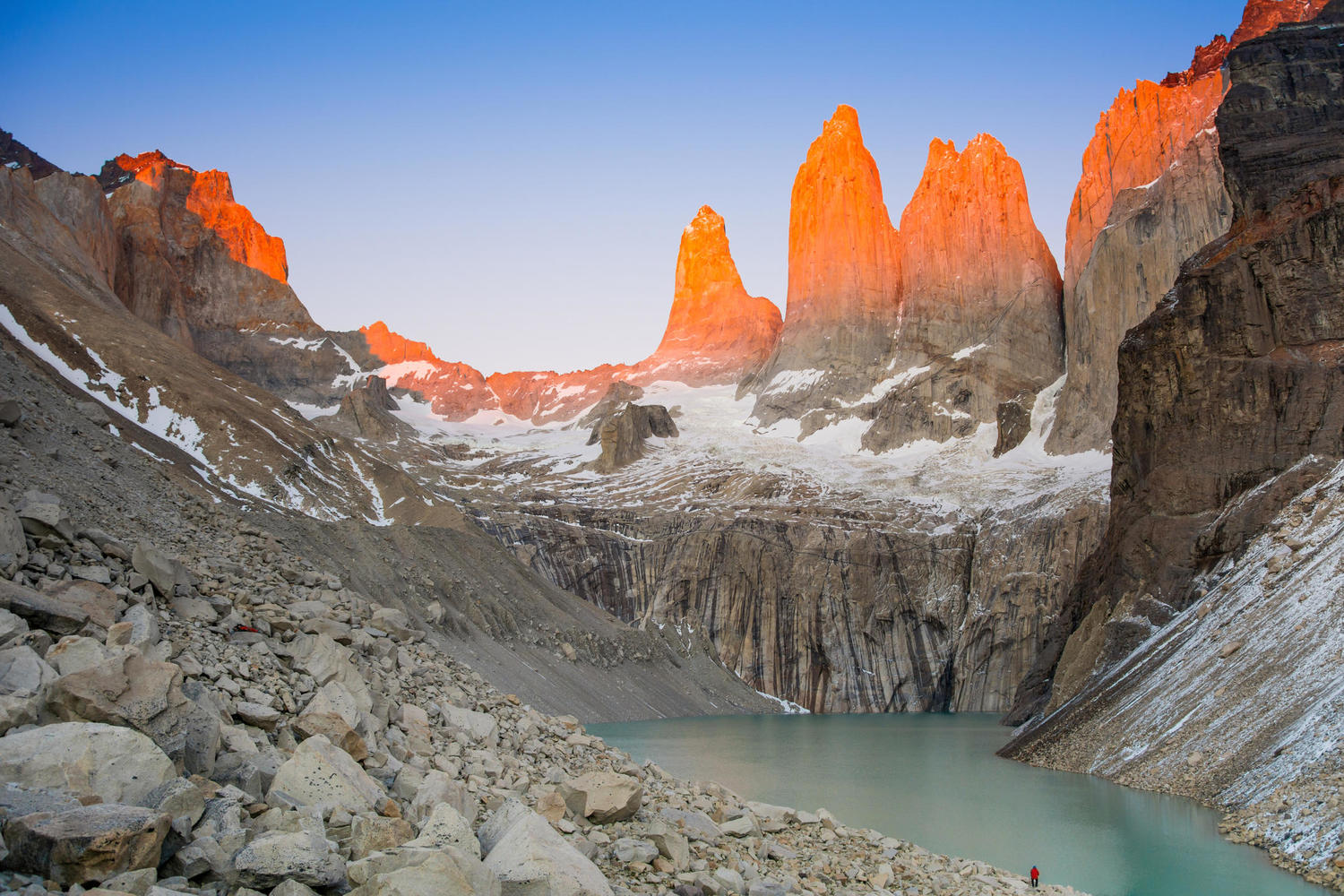 Watching the sunrise over the towers of Torres del Paine
