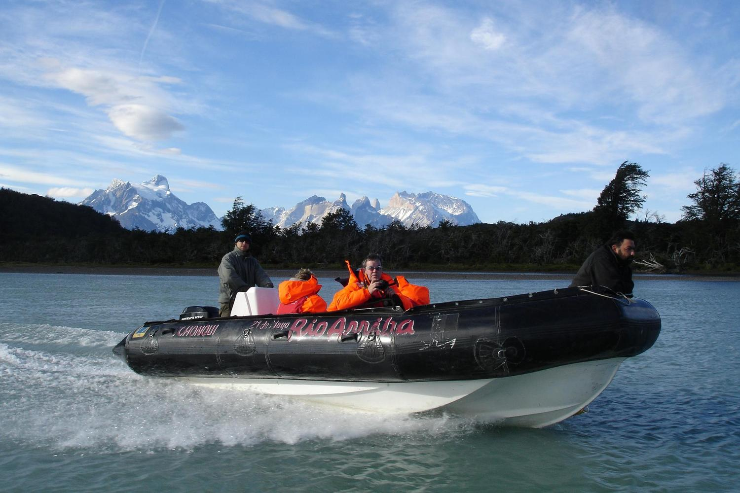The zodiac ride along the Serrano River into Torres del Paine, Chile