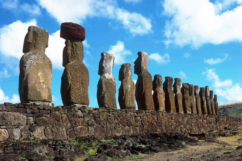 Rapa Nui moai in the sunlight