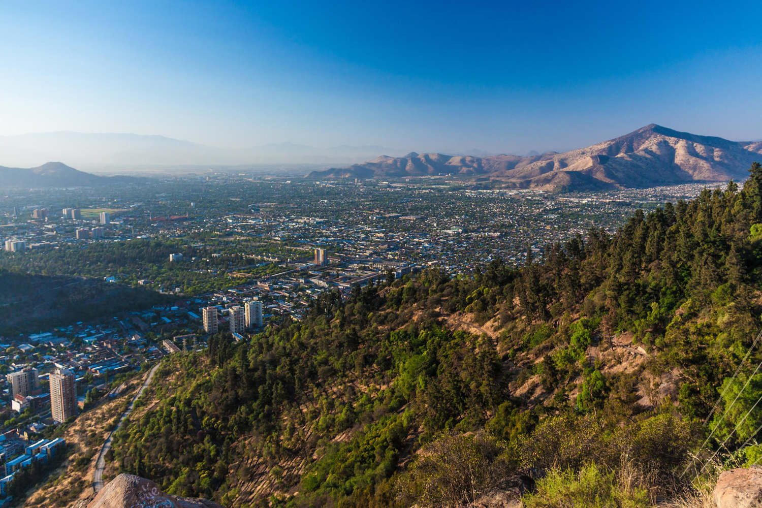 Aerial view of Santiago from Cerro Santa Lucia