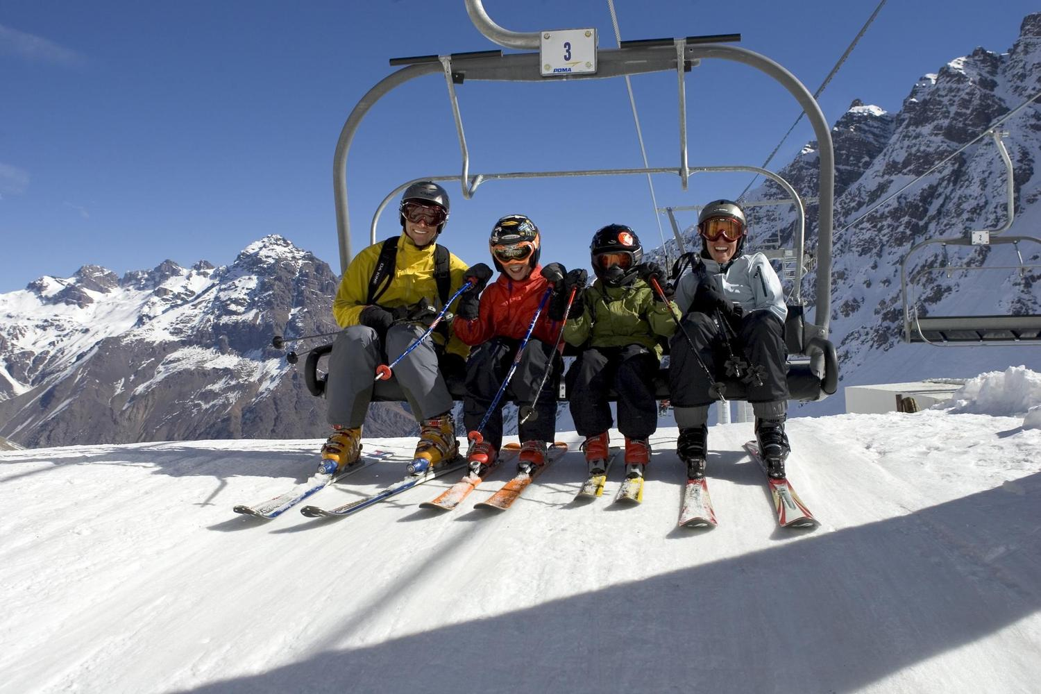 Happy families on the lifts at Portillo