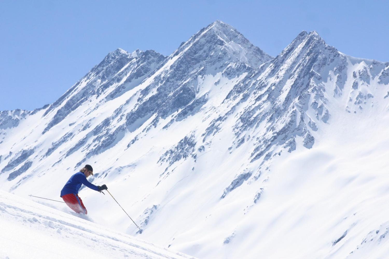 Skiing down Roca Jack run at Portillo, Chile