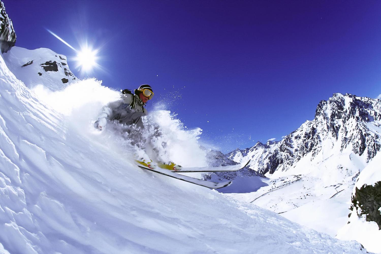 Skiing off piste at Portillo, Chile