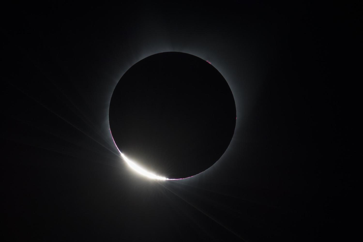 The 'diamond ring' effect in the solar eclipse