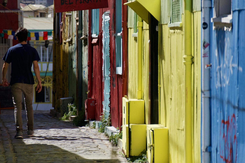 Colourful street scene in Valparaiso
