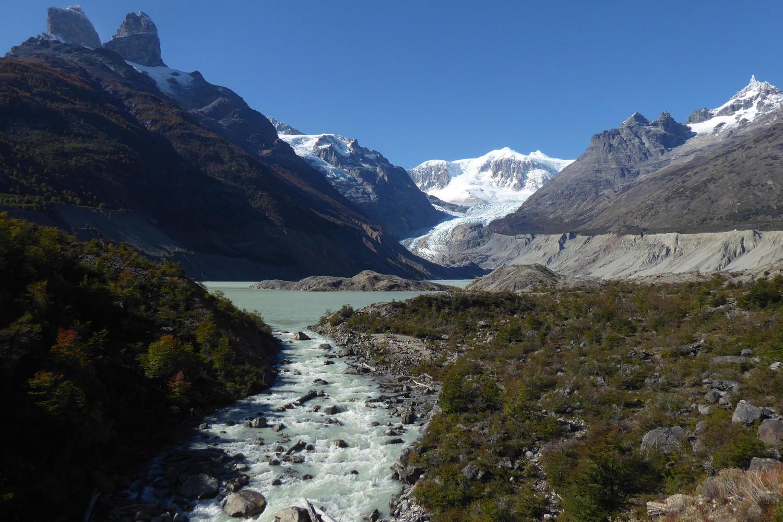 Approaching the Calluqueo glacier beneath San Lorenzo peak