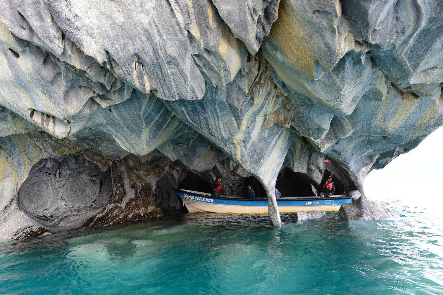 Exploring the Marble Caves by boat on the Carretera Austral