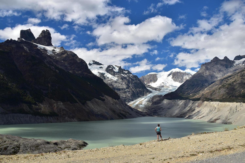 Admiring the lagoon on the Cerro Castillo hike