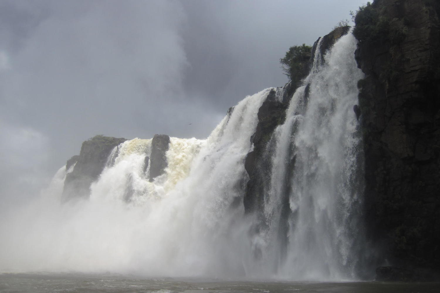Boat ride under the Iguassu Falls