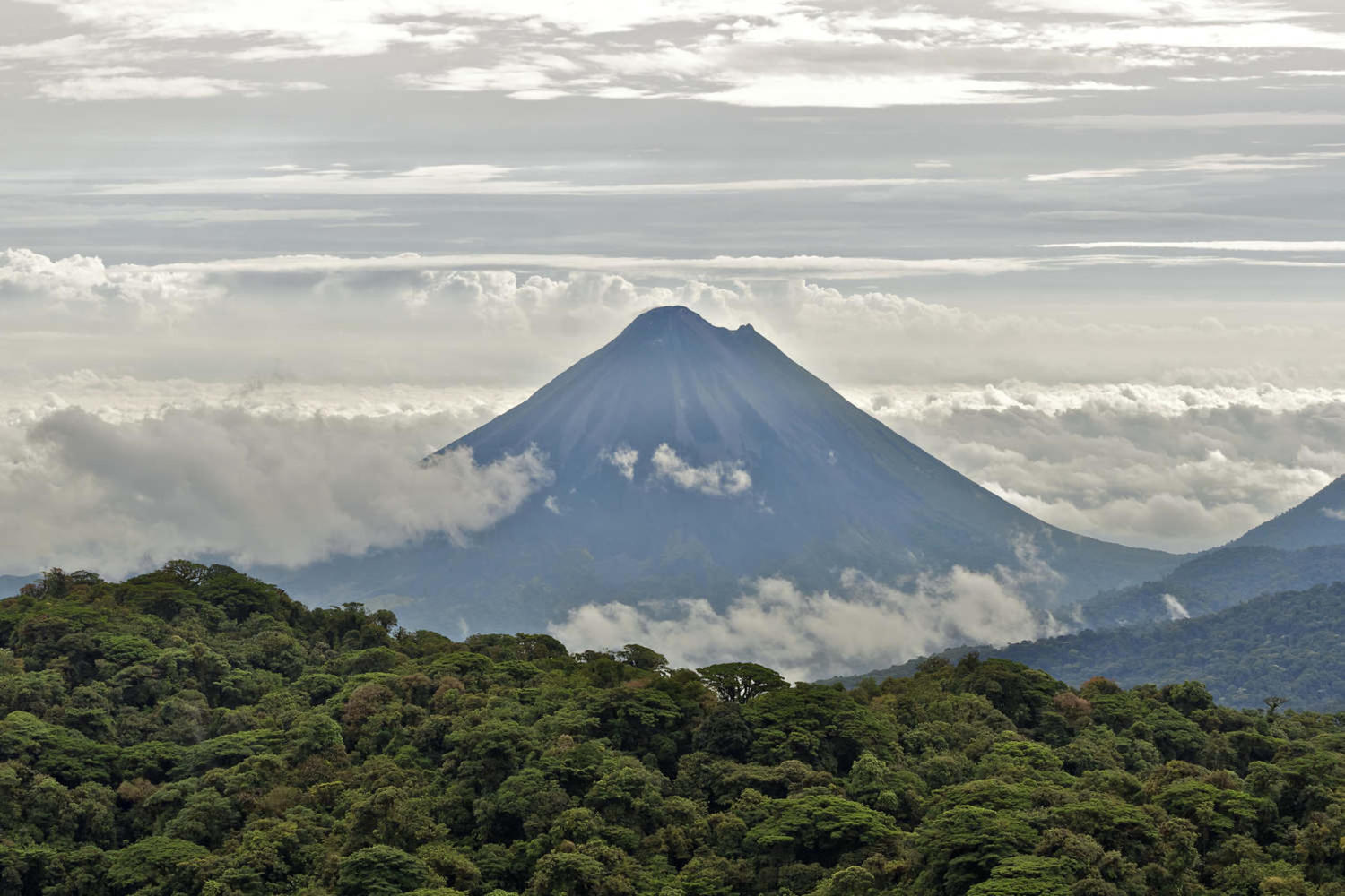 Arenal volcano seen from the Monteverde cloud forest