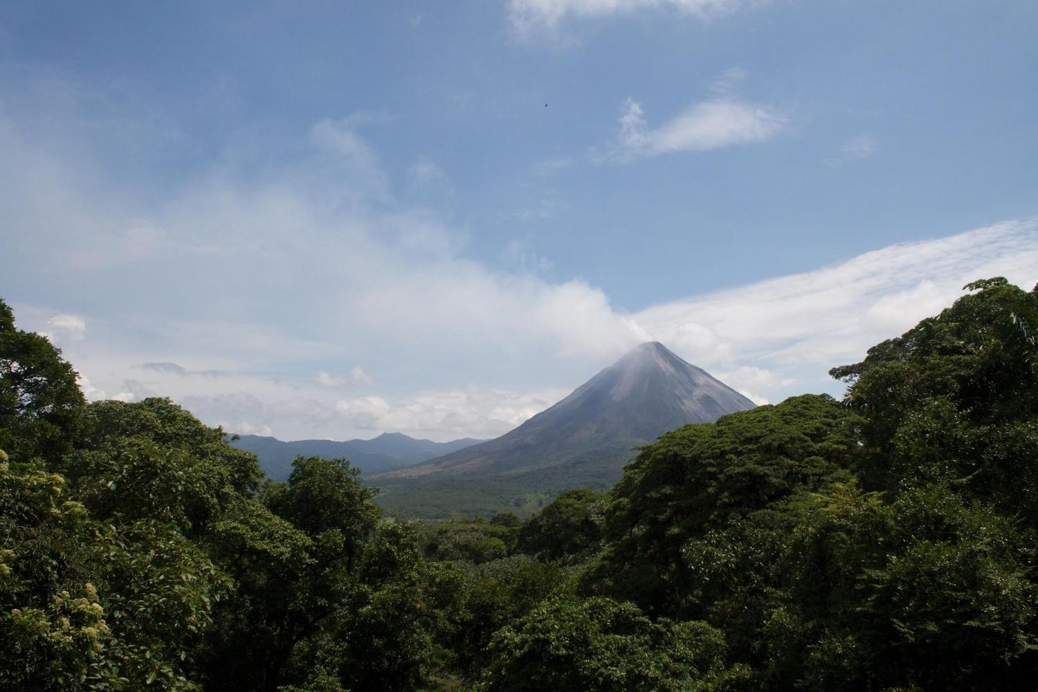 Views of the active cone of Arenal Volcano