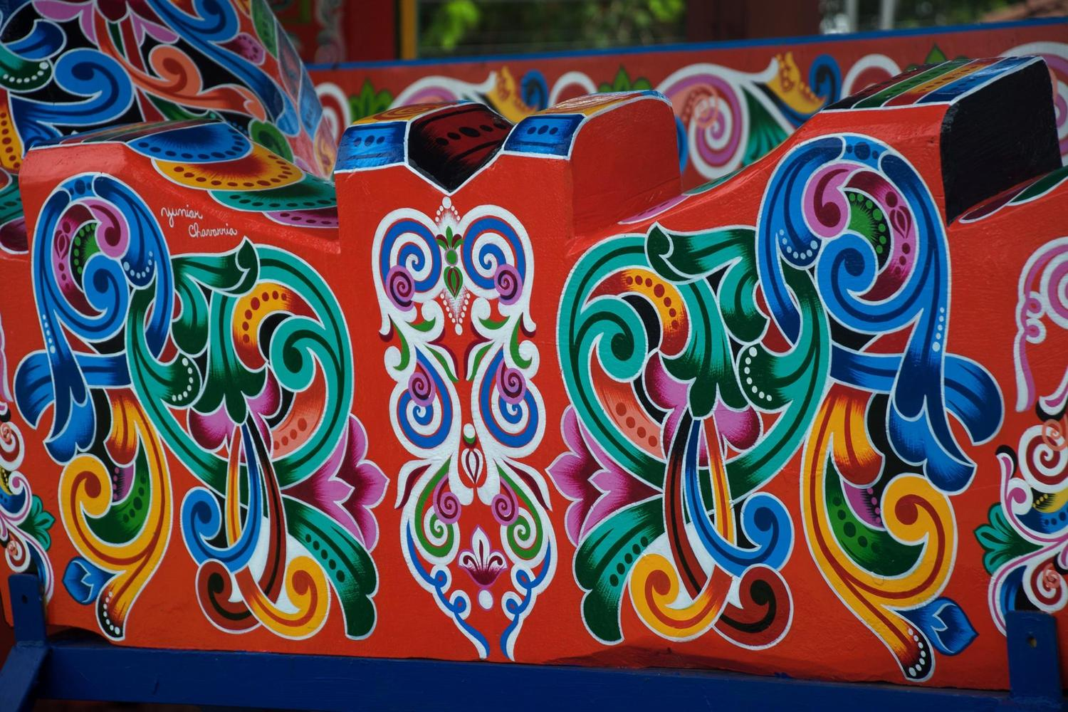 Brightly painted ox cart in Sarchi, near San José