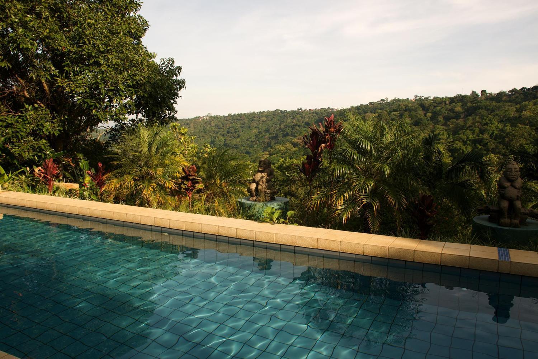 One of three pools at the Xandari Plantation hotel near San José