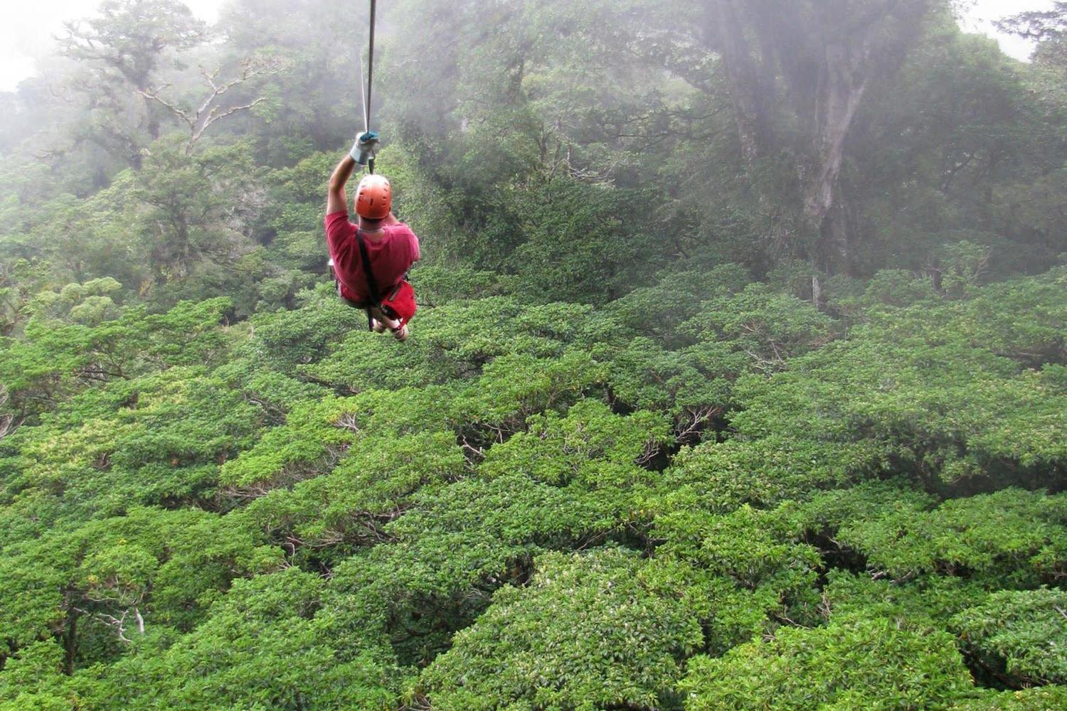 Ziplining through the cloud forest of Monteverde
