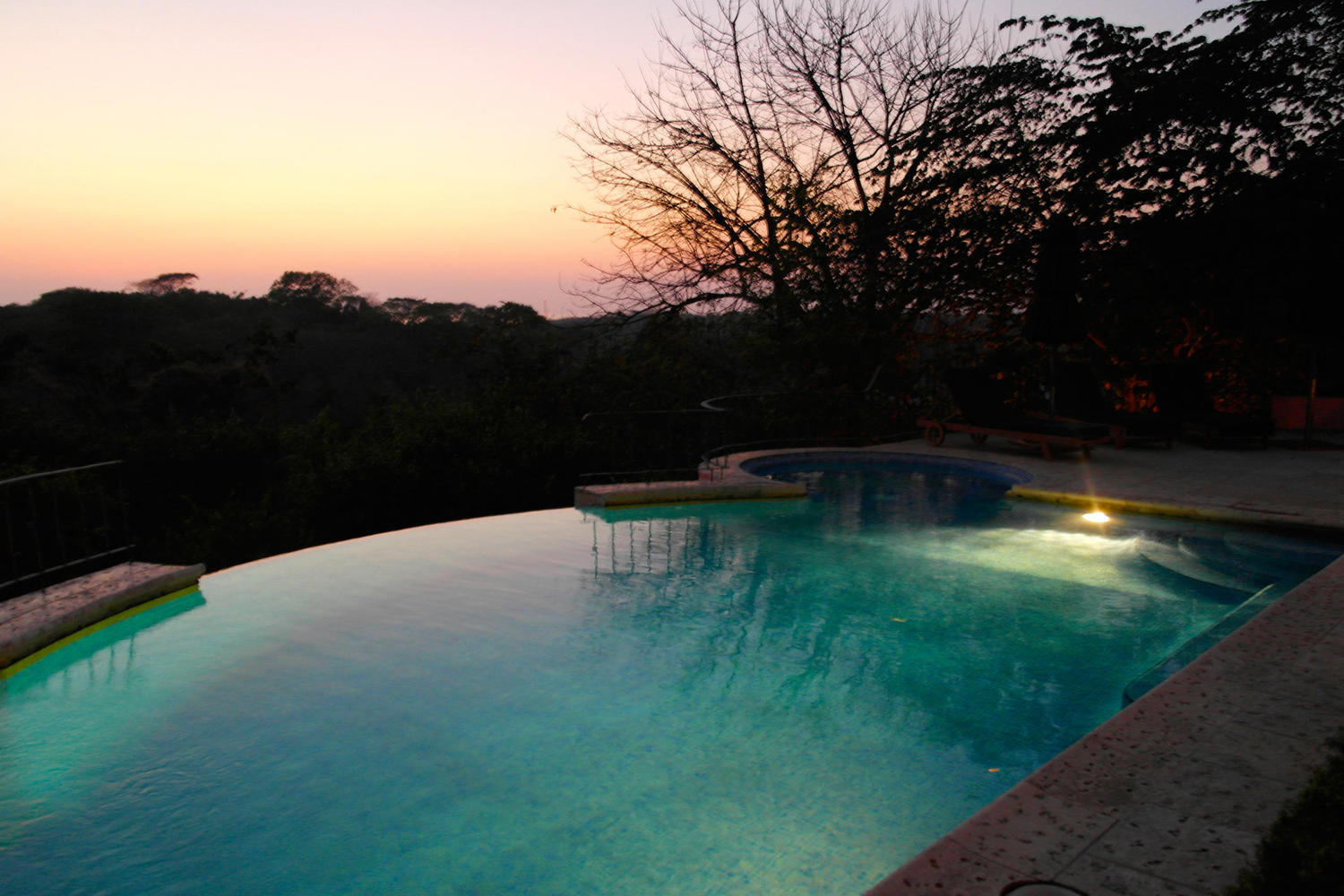 Pool by night at the Luna Azul Hotel in Ostional, Nicoya Peninsula
