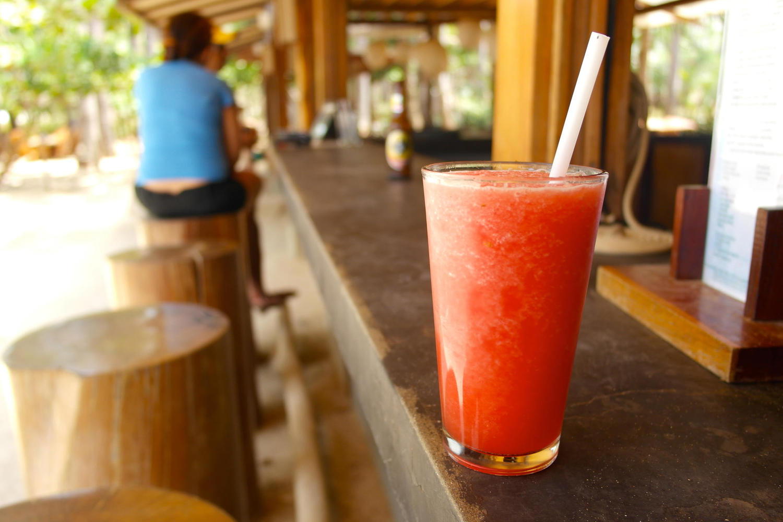 Watermelon juice at Lolas shack on Avellanas beach, Nicoya Peninsula
