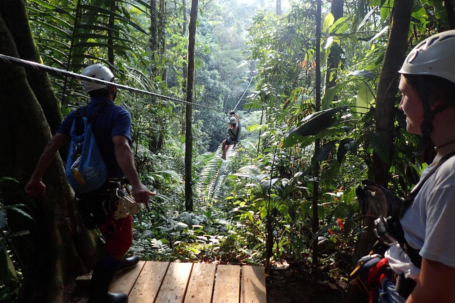 Zip lining in Pacuare
