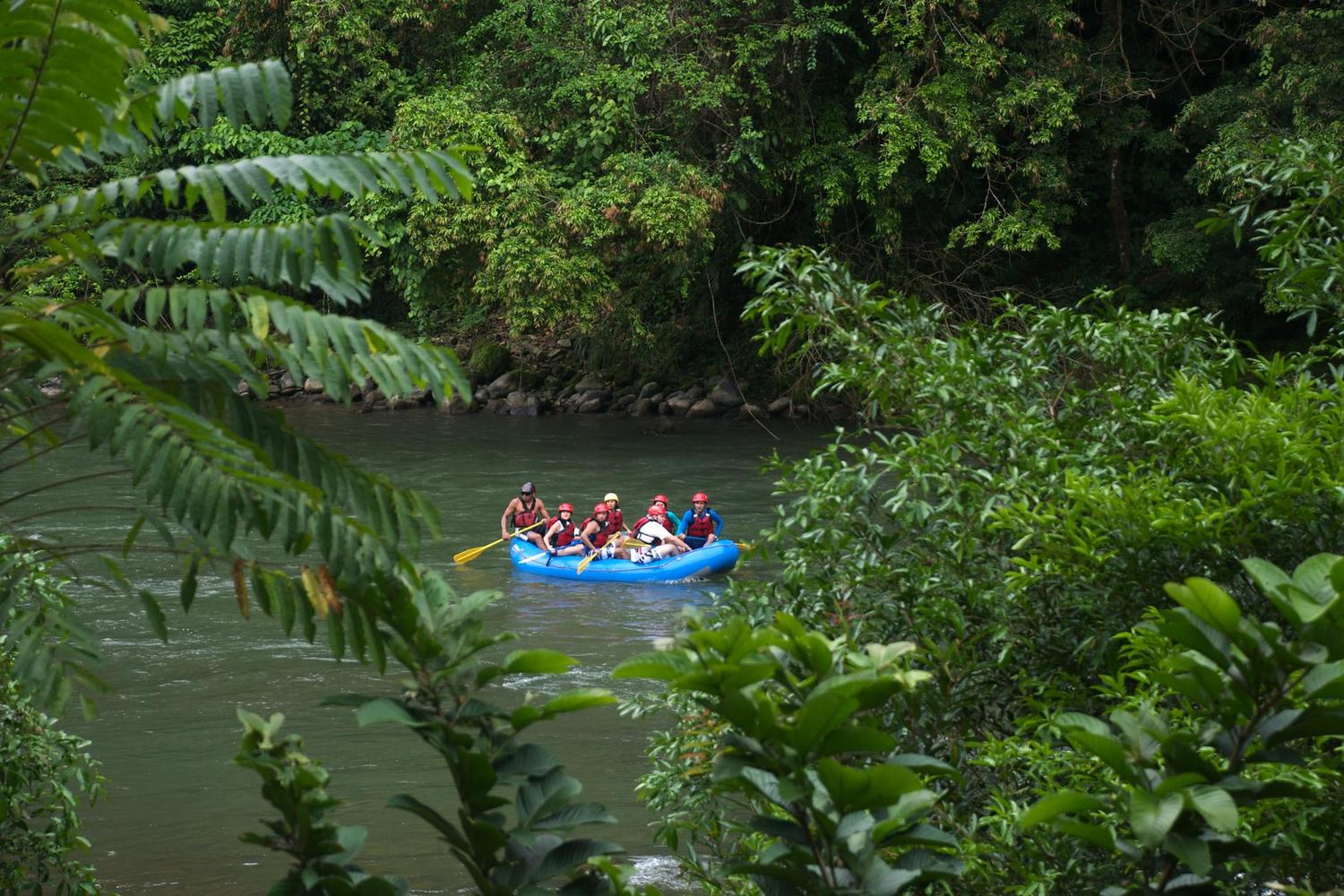 Rafting past the Pacuare Lodge in Costa Rica