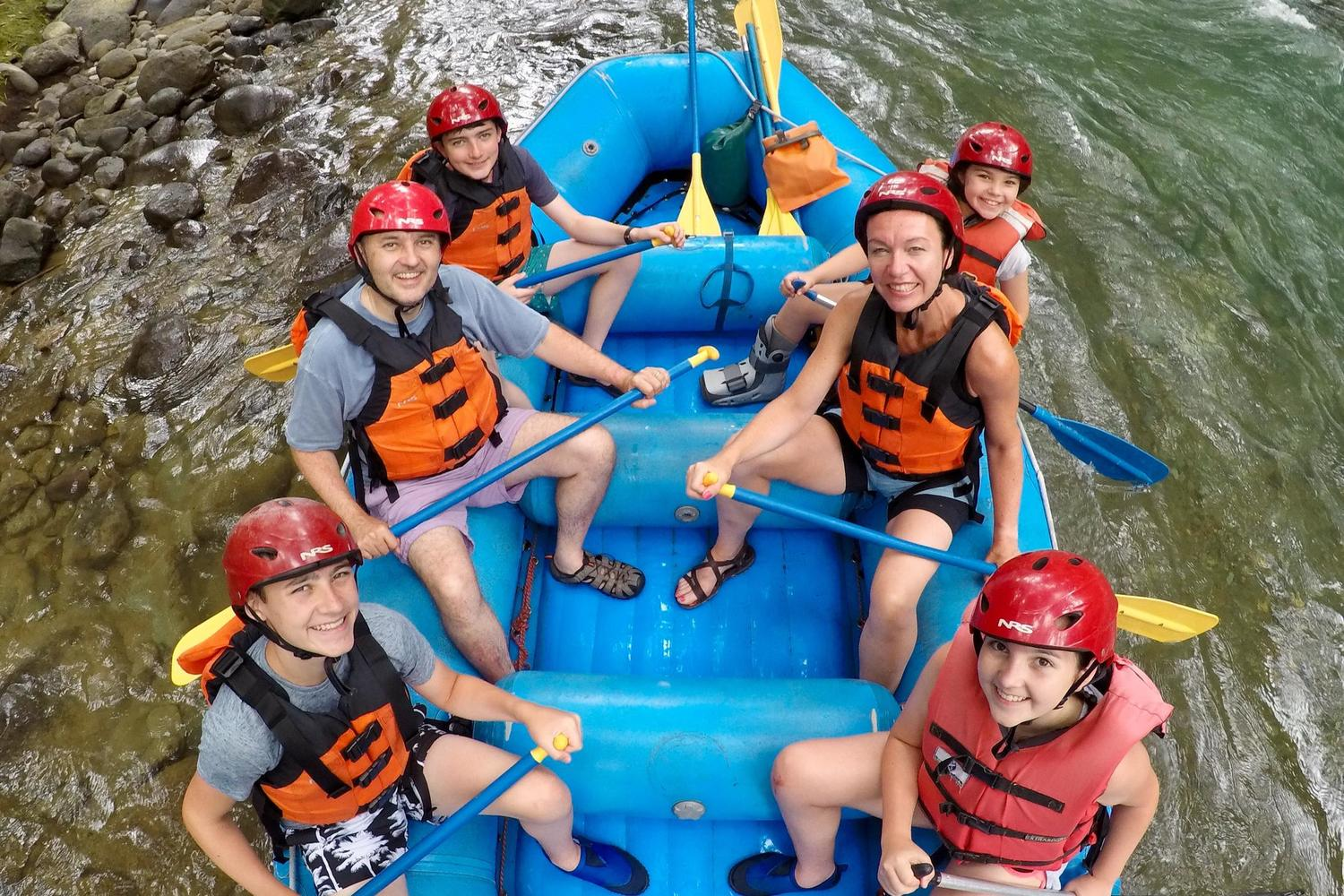 Family river rafting in Turrialba, Costa Rica