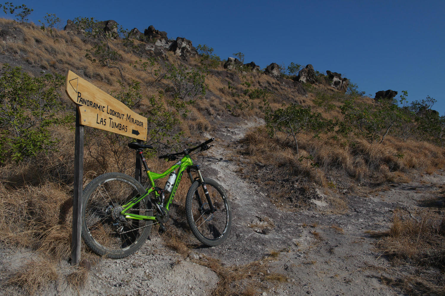 Mountain bike sign on the bike trail in Rio Perdido, Rincon de la Vieja