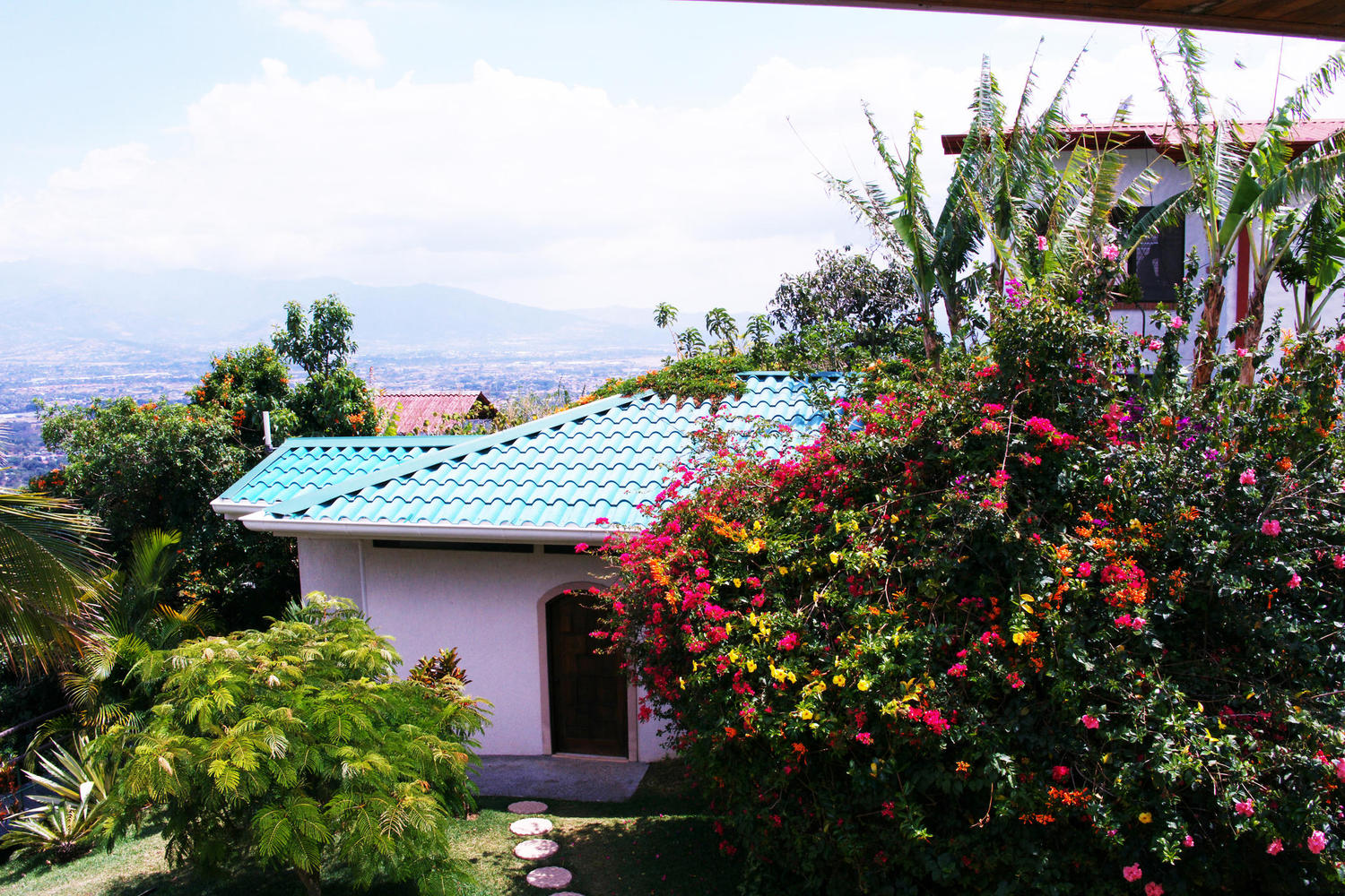 View with flowers at Hotel Buena Vista in Alajuela, San Jose