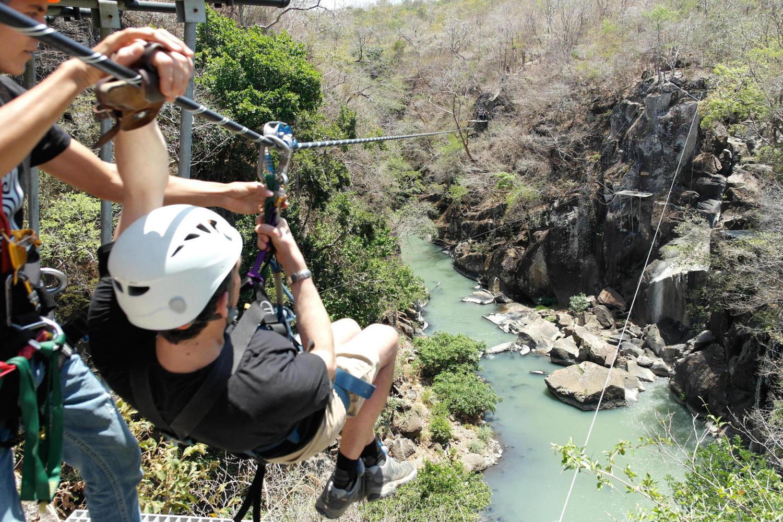 Zip lining at Rio Perdido