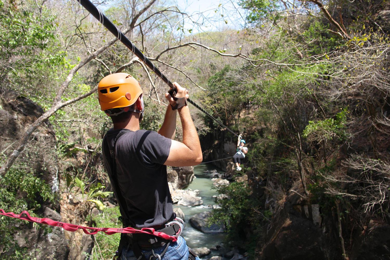 Canopy tour zip line in Rio Perdido, Tenorio