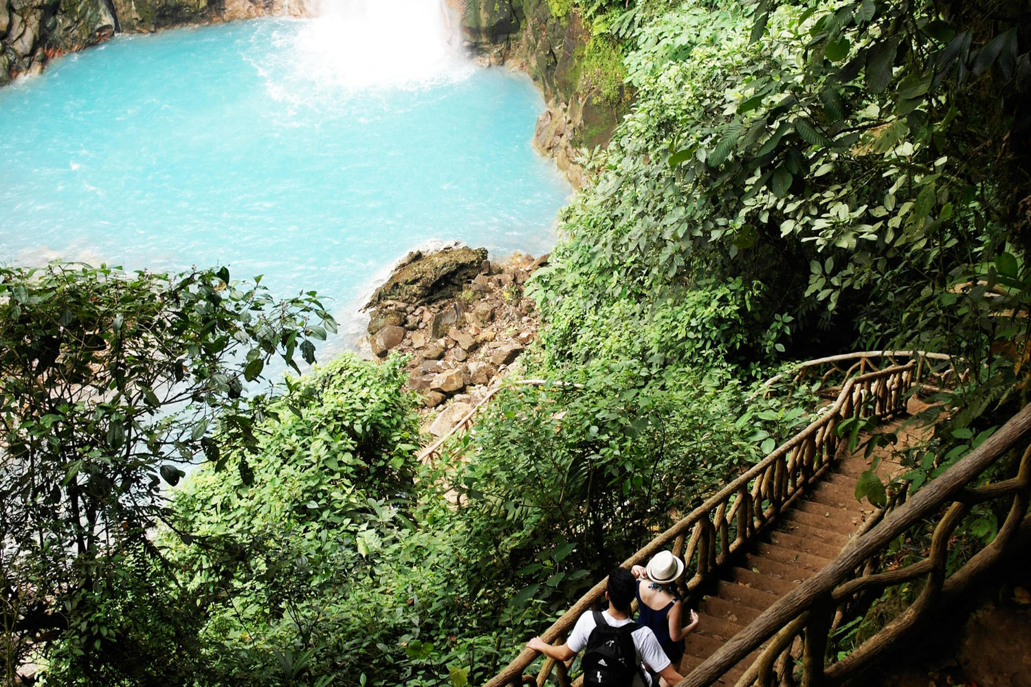 Walking down to Rio Celeste waterfall in Volcano national park, Tenorio