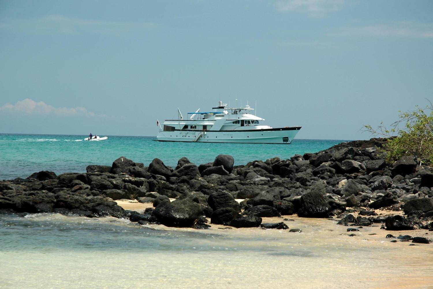 Beluga yacht moored off Fernandina Island in the Galapagos