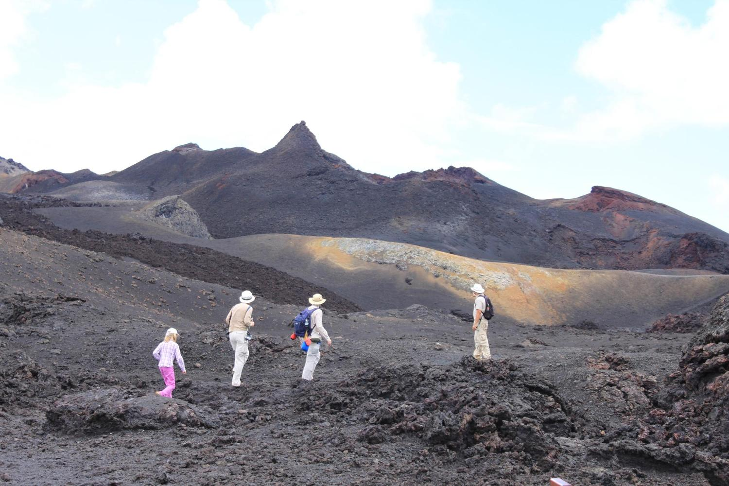 Walking across the crater of Sierra Negra, Isabela Island