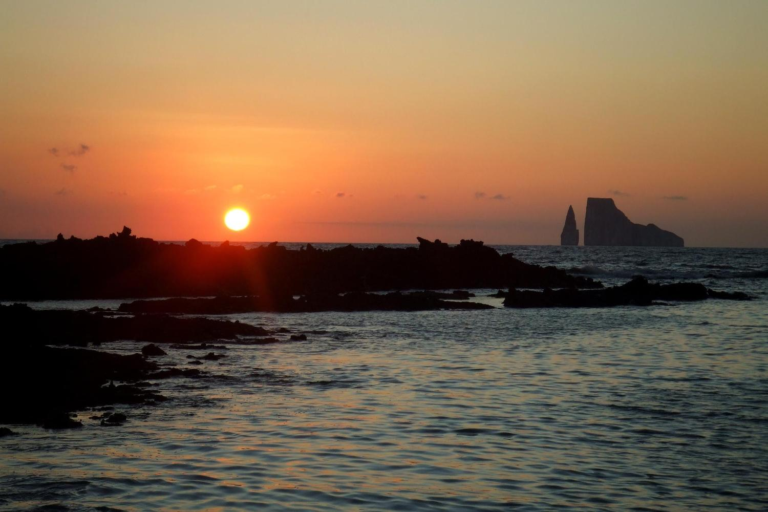 Sunset over Kicker Rock in the Galapagos Islands