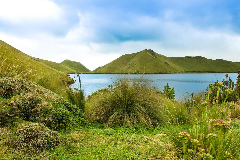 Beautiful walking around the Mojanda lake in Ecuador