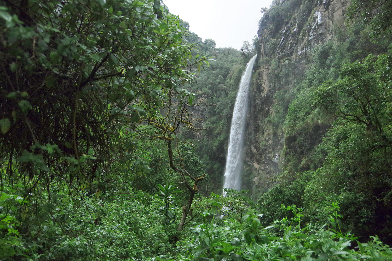 Condor Machay Waterfall near Cotopaxi
