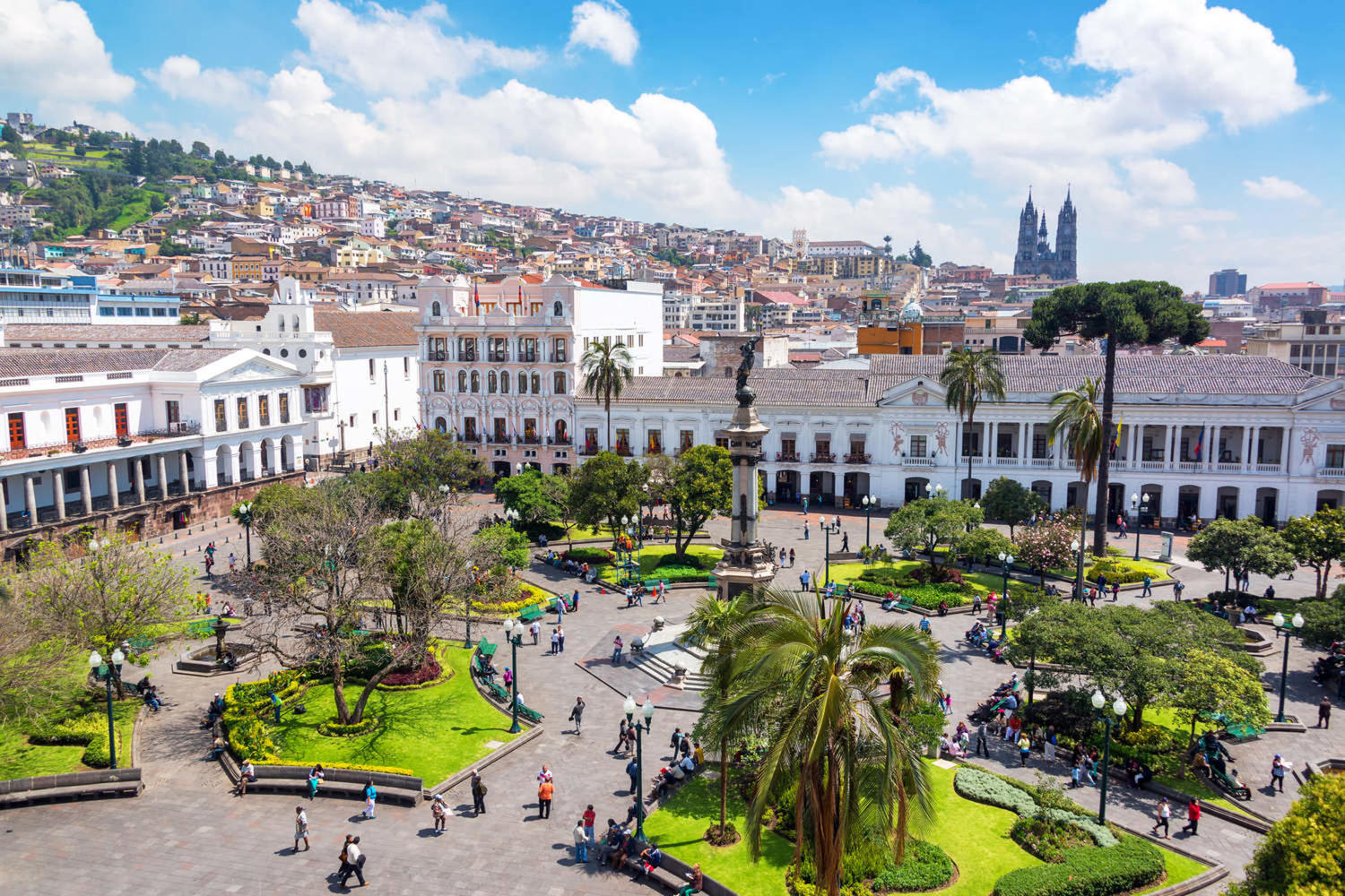 Activity in Plaza Grande in the colonial center of Quito