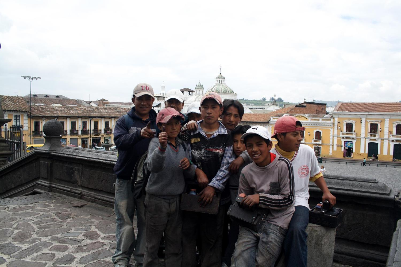 Shoe shine boys in the colonial centre of Quito, Ecuador
