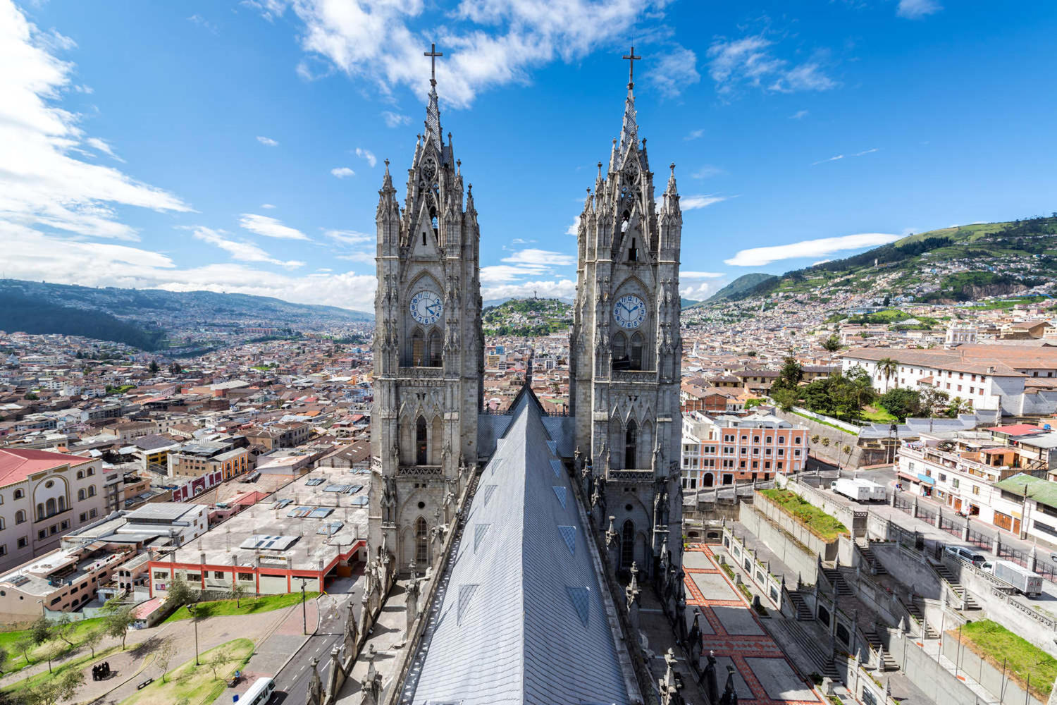 View of the towers of Quito's basilica