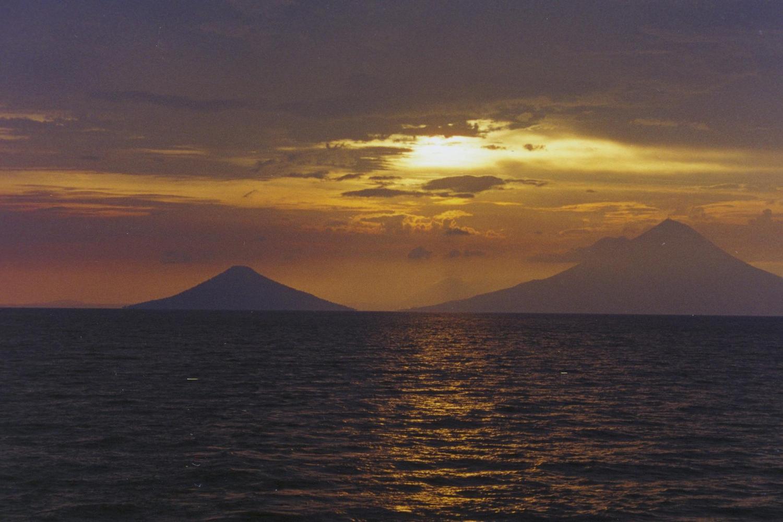 The twin volcanoes of Ometepe Island in Lake Nicaragua