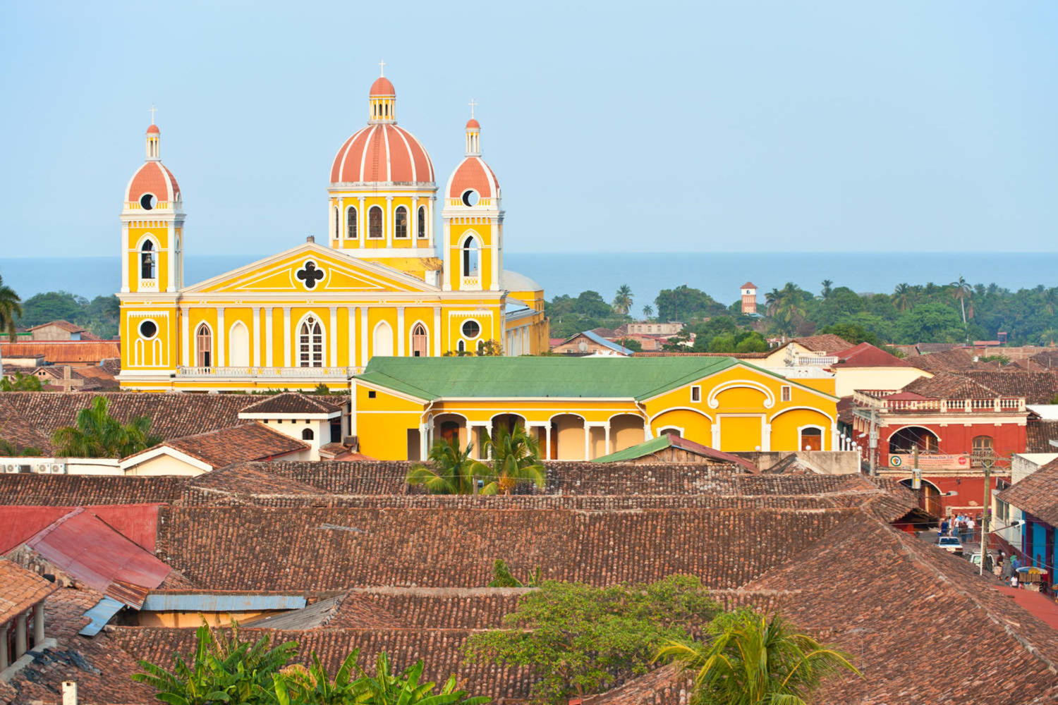 Granada cathedral and lake Nicaragua on the background