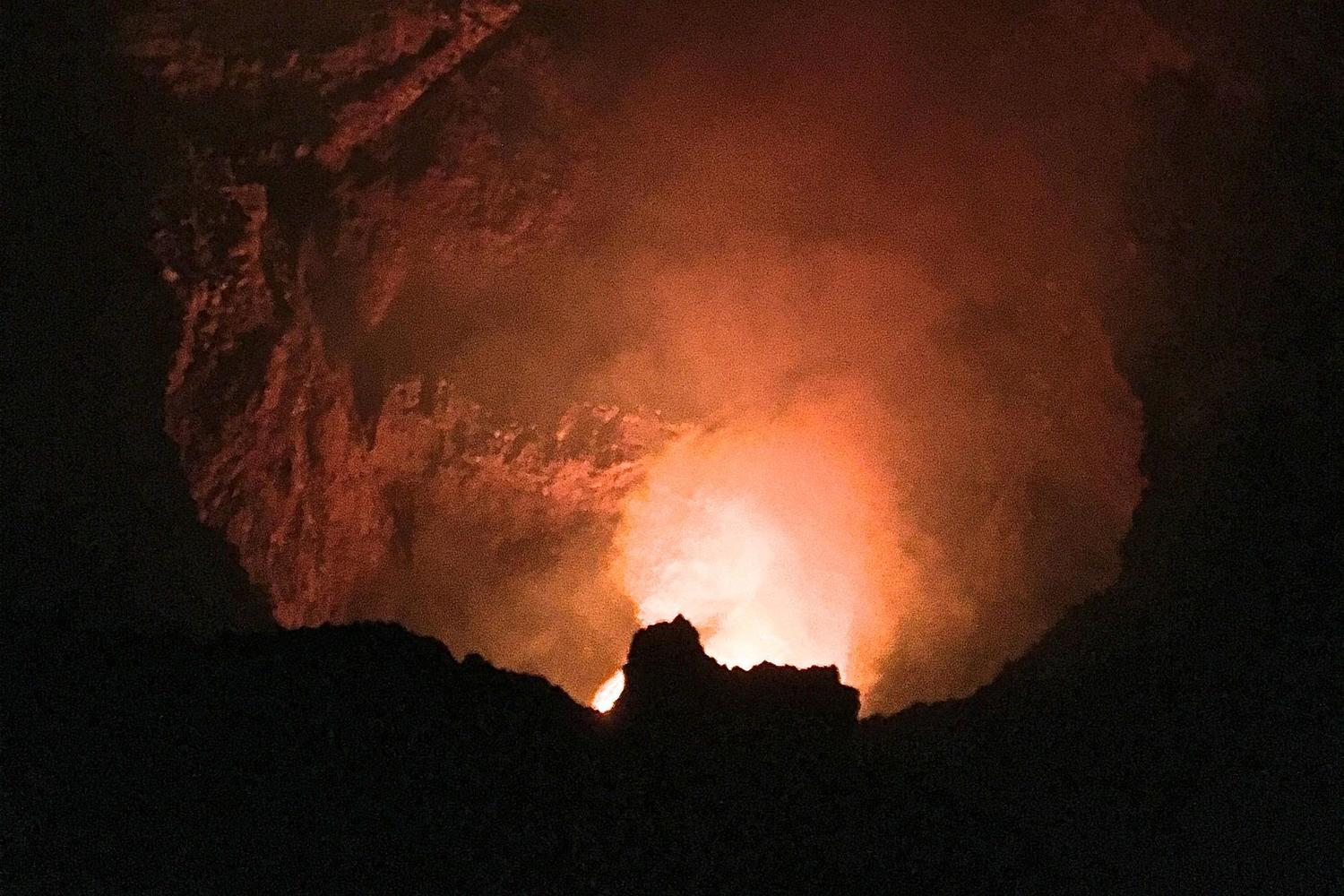 Fiery lava glowing in the Masaya crater