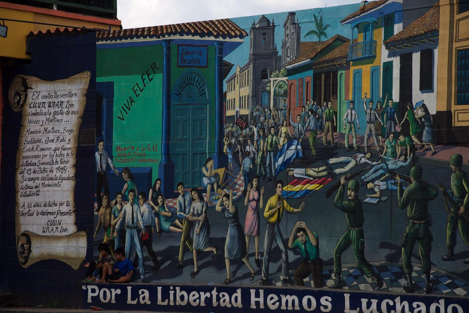 """We fought for liberty"" mural in Leon, Nicaragua"