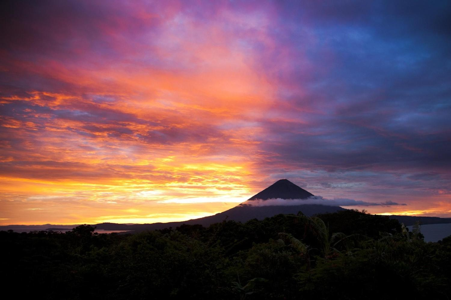 Sunset over Totoco Ecolodge on the island of Ometepe, Nicaragua