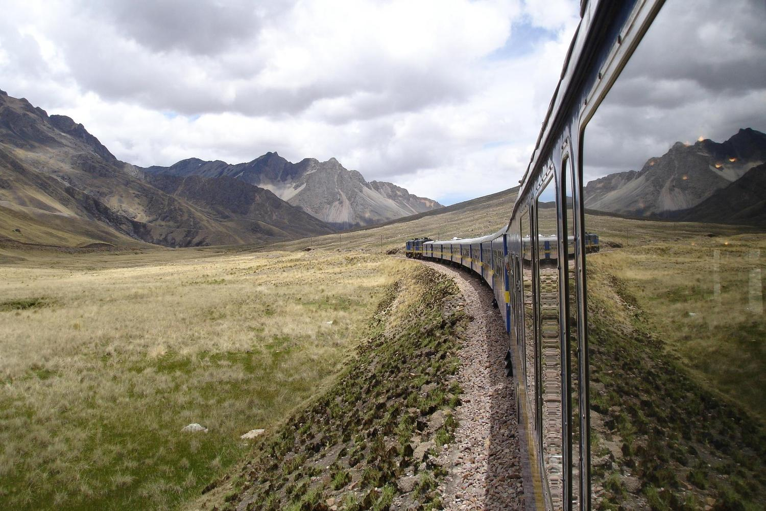 The Orient Express train across Peru's Altiplano