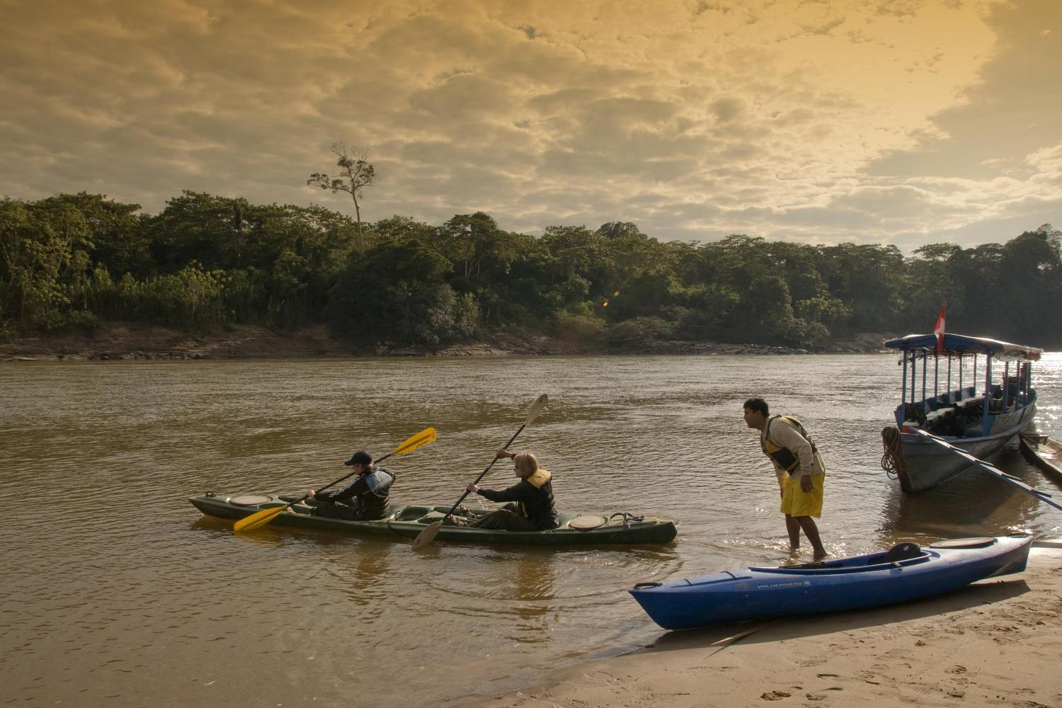 Paddling along the Tambopata River in Peru's Amazon