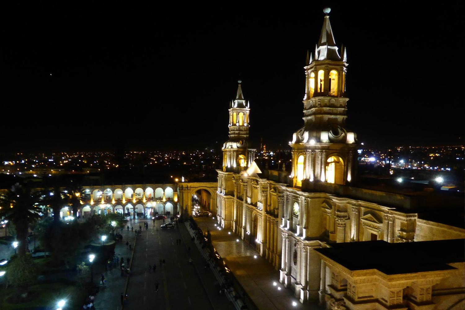 Looking out of the cathedral of Arequipa by night