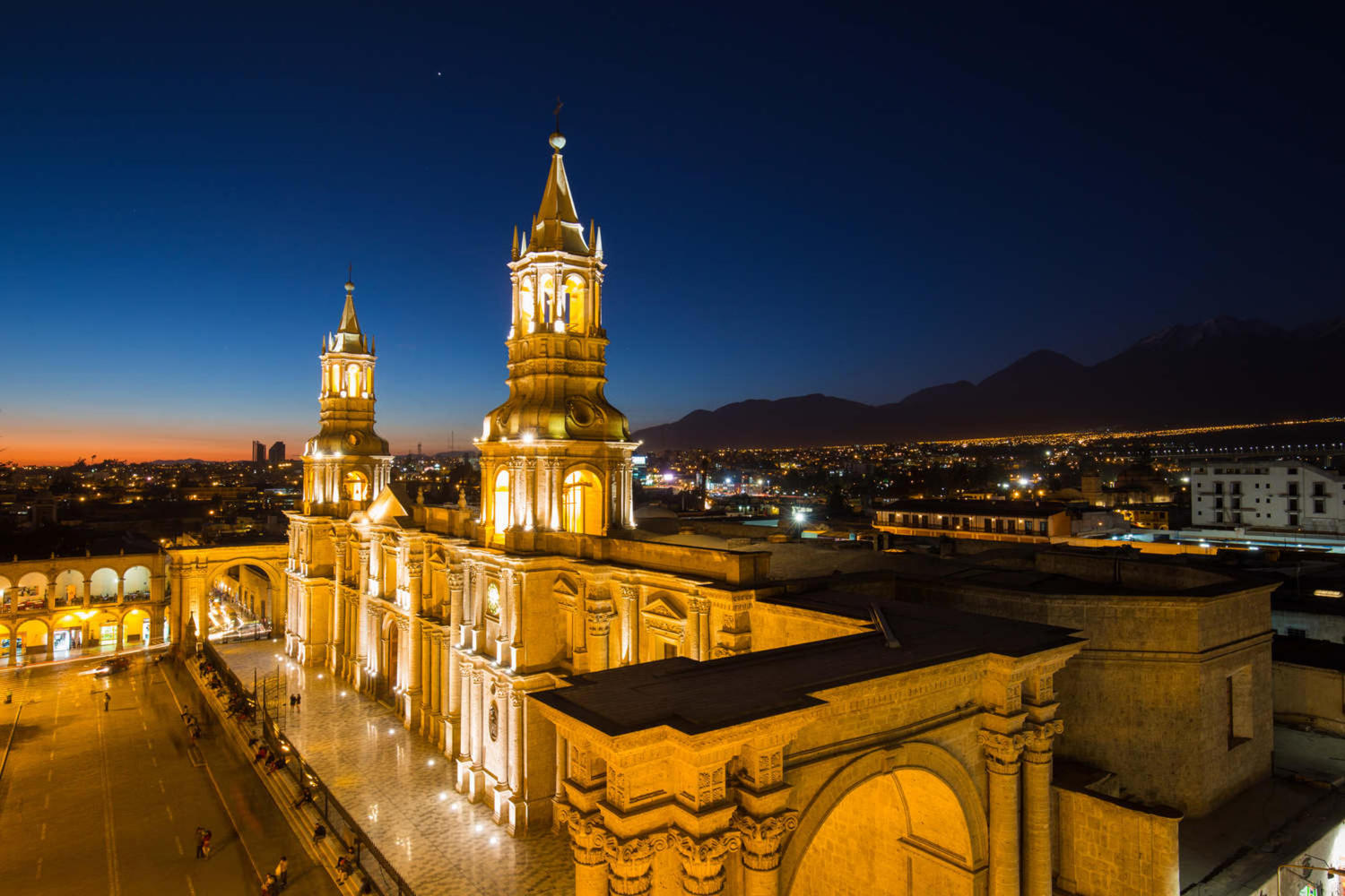 Plaza de armas in Arequipa at night