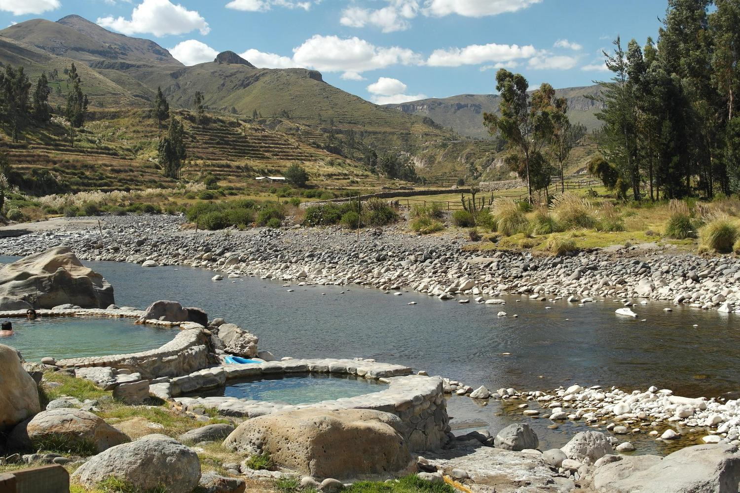 Hot spring tubs at Colca Lodge in the Colca Canyon, Peru