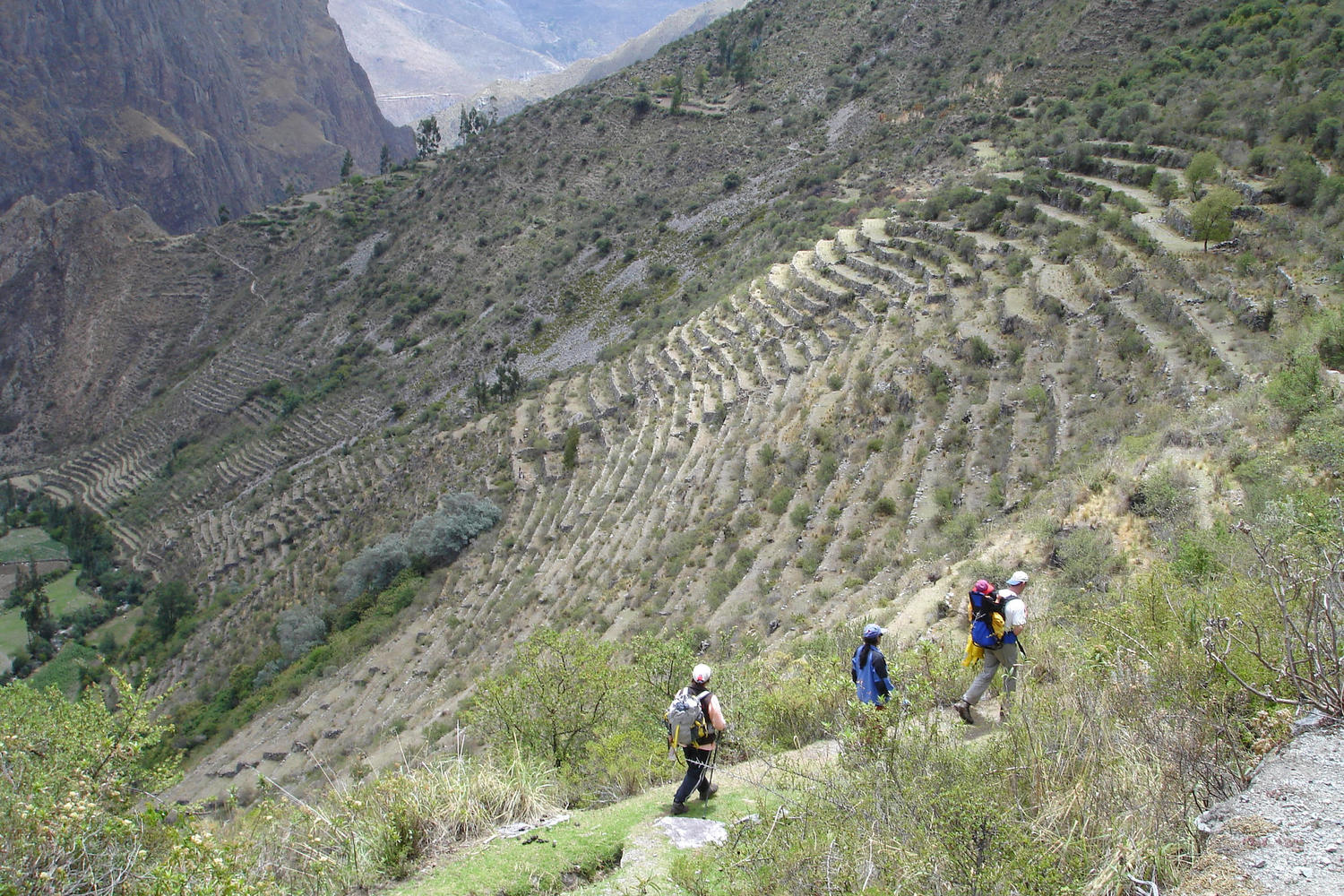 Trekking through Inca terraces high above the Sacred Valley on the Lares Trail