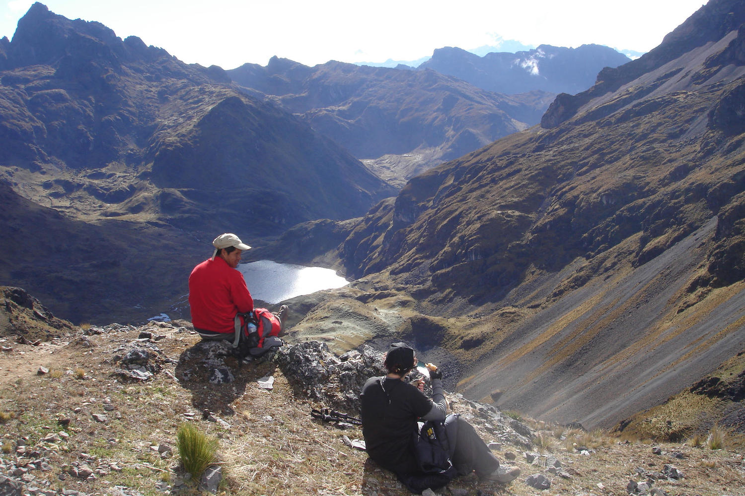 Lunch with a beautiful view on the Lares Trail